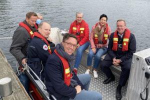 Gemeinsam für die Rettungskräfte in einem Boot: Iris Bothe, Immacolata Glosemeyer, Falko Mohrs und Boris Pistorius